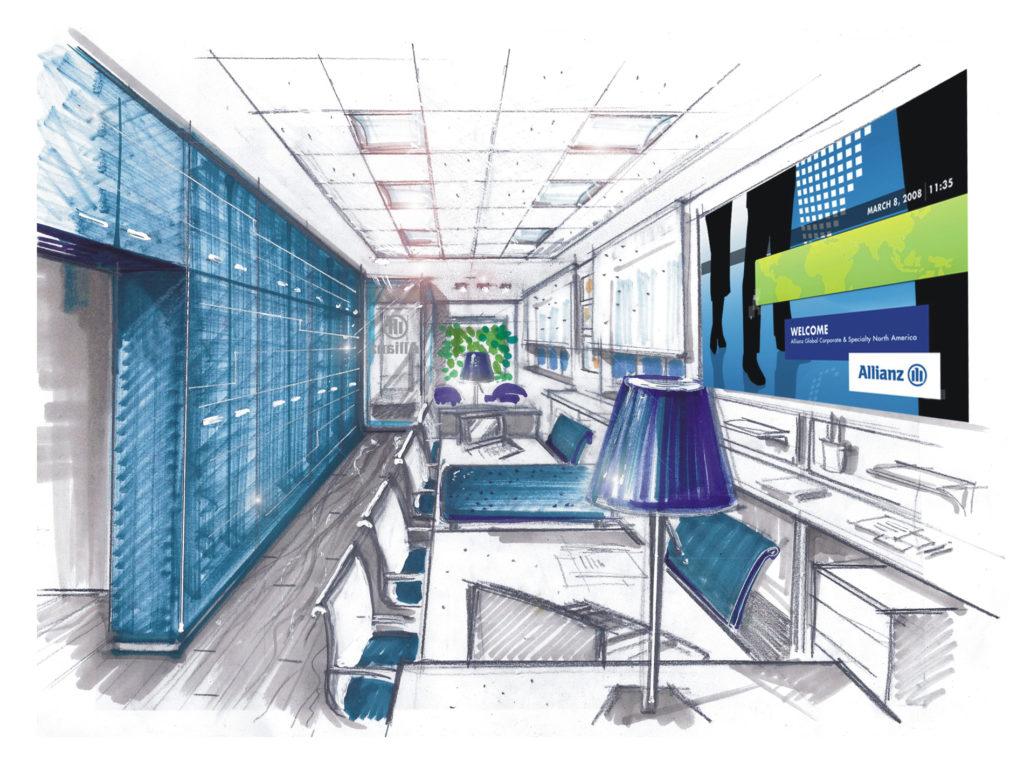 Allianz 04 - schizzo open space