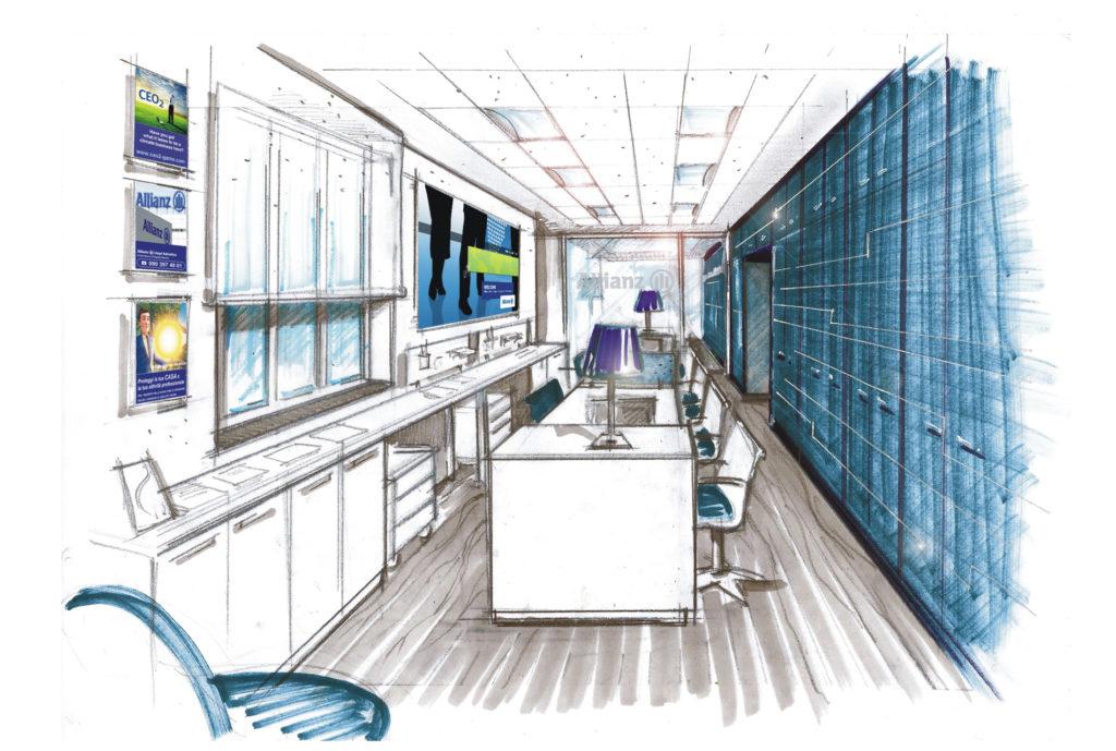 Allianz 09 - schizzo open space
